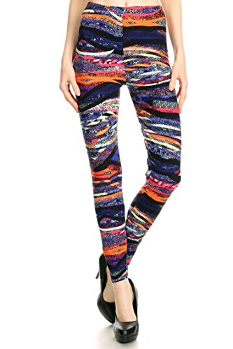 Leggings Mania Women's Plus Geo Stripe Print High Waist Leggings Purple Orange, Plus One Size Fits Most (12-22), Geo Stripe by Leggings Mania
