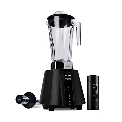 BioChef Living Food Vacuum Blender – 1680 Watt Motor, 2L BPA Free Jug – High Speed Blender with Temperature Tamper + Vacuum Blending Accessory with Vacuum Seal Bags (Black)