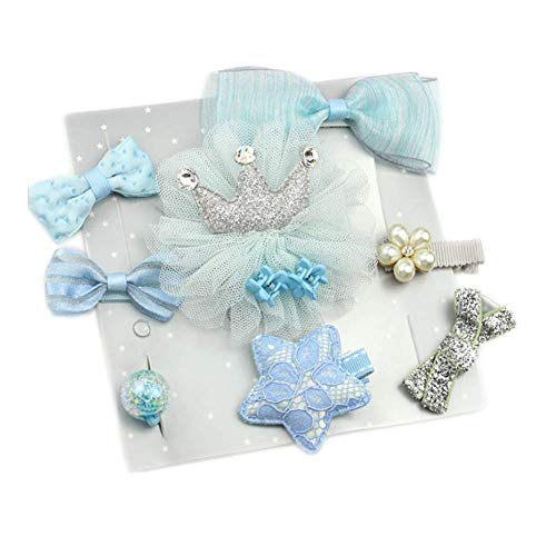 10pcs Boutique Baby Hair Clips for Fine Hair No Slip Hair Barrettes Bow Accessories for Baby Infant Toddlers Girls (Blue) ()