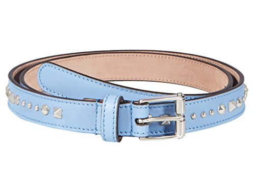 Gucci Women's Light Blue Studded Leather Slim Belt, 30, Blue by Gucci