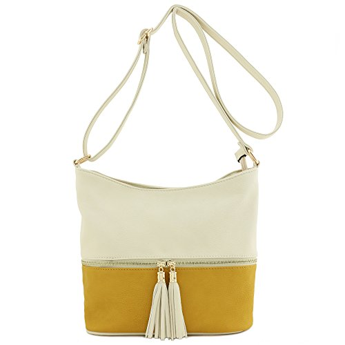 Tassel Crossbody Bucket Ivory Zipper Bag Mustard qzqSw