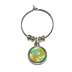 Graphics and More Trombone Player - Band Orchestra Instrument Music Wine Glass Charm Drink Stem Marker Ring
