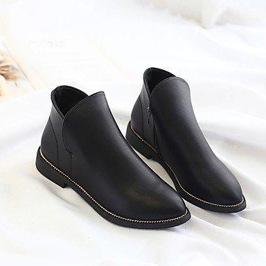 puntiagudo CN36 para de Calf negro Mid RTRY Confort ocasionales EU36 planas Zapatos US6 tacón Mujer Pu Otoño UK4 Moda cremallera botas vino de botas botas de Toe wOqwUF