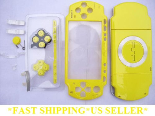 Full PSP 2001 Replacement Housing * YELLOW * with Buttons and Joystick Cap Faceplate Case 2000 Repair The Simpsons (Simpsons Psp Game)