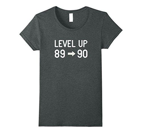 Womens Funny Level Up Ninety Birthday T-Shirt 90th Retro Gamer Gift XL Dark (90s Theme Party Costumes Ideas)