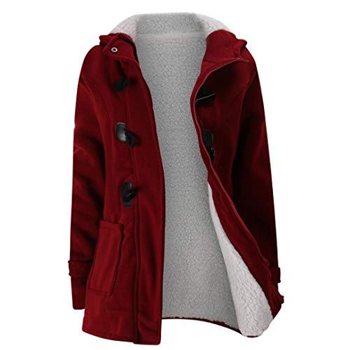 Elecenty Corne en Cuir Boucle Boucle Polaire Veste Veste en Coton Les Femmes Gardent au Chaud Coupe-Vent Outwear Chaud Laine Mince Long Manteau Veste Trench Rouge