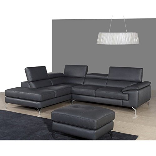 JM Furniture A973 Italian Leather Left Chaise Sectional in Grey