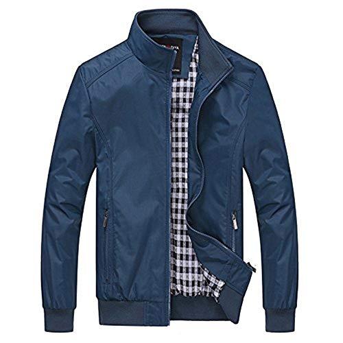 Laterali Blau Risvolto Maniche Uomo Tinta Giacche Tasche Unita Con Tempo Coat Per A Il Cappotto Lunghe Libero 7fRwqR