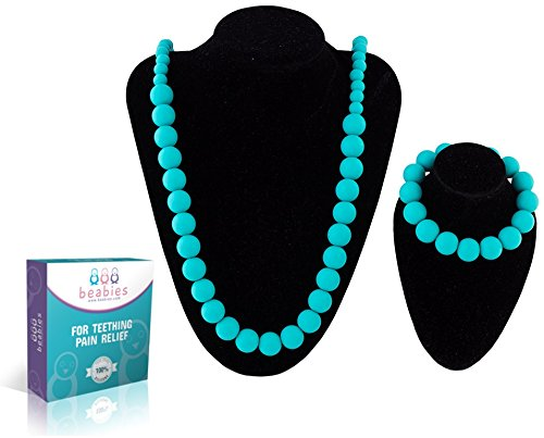 Beabies FDA Silicone Nursing Teething Necklace for Mom and Bracelet for Baby, Turquoise/Teal