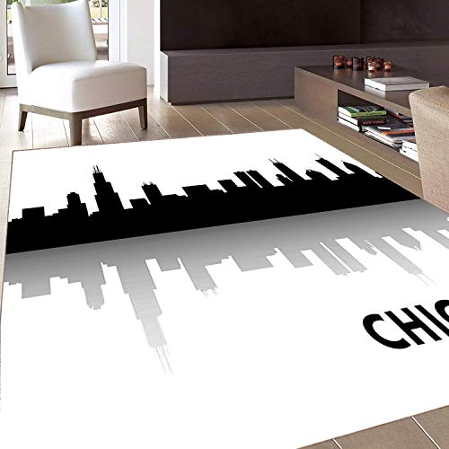 (Rug,FloorMatRug,Chicago Skyline,AreaRug,Downtown Skyscrapers Illinois Tourism Travel Country Urban Minimalist,Home mat,3'x4'Black and)