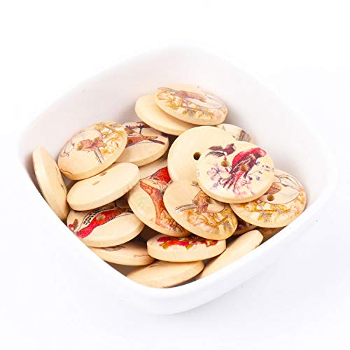 Maslin Mix Lovely Bird Pattern Round Wooden Buttons Handmade Accessories Decoration Sewing Scrapbooking Crafts DIY 20mm 20pcs MT0956-FD