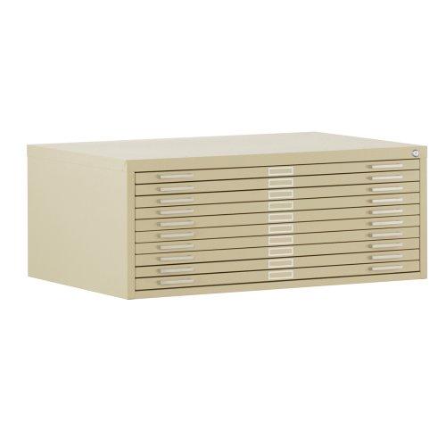 Sandusky 244885PU Heavy Duty Welded Steel 10 Drawer Flat File Storage Cabinet, 46-3/4