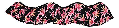 Hula Honey Women's Paradise Falls Tropical Print Bikini Top (Black/Pink, Small)