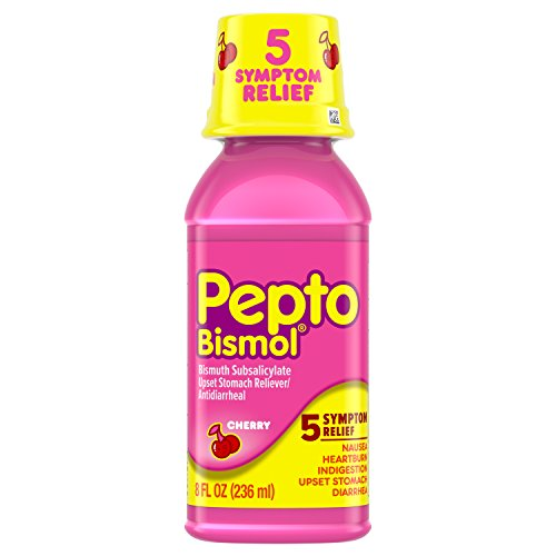 (Pepto-Bismol Cherry Liquid 5 Symptom Medicine Including Upset Stomach & Diarrhea Relief Bottle, 8 Fluid Ounce (Packaging May Vary))