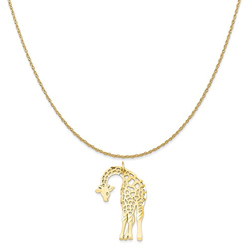 14k Yellow Gold Giraffe Charm on a 14K Yellow Gold Rope Chain Necklace, 18