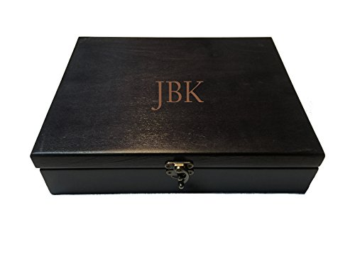 WE Games Custom Monogram Black Stained Wood Treasure Box with Brass Latch (Made in USA)