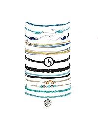 MSDADA Wave Bracelet for Women Adjustable Braided Hand Bracelet Fashion Bohemian Handmade Waterproof Friendship Braided Beach Bracelet for Girls and Women