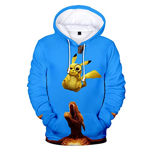 Hoodies 3D Monster Print Sweatshirts Poke-mon Anime Pullover Tops with Pockets Unisex for Men Women,M