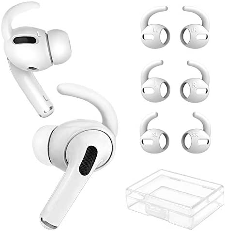YINVA 3 Pairs Ear Hooks for AirPods Pro [Added Storage Box] Silicone Accessories Compatible with Apple AirPods Pro Ear Tips (S, M, L, White)