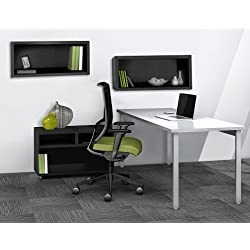 """Mayline Reconfigurable Desk & Hutch Set Desk: 60""""W X 24""""D X 29.5""""H Open Storage Cabinet: 30""""W X 18""""D X 21.75""""H Hutch: 30""""W X 15""""D X 15""""H Desk Work Surface Is 1 1/8"""" Thick Thermally Fused Laminate"""