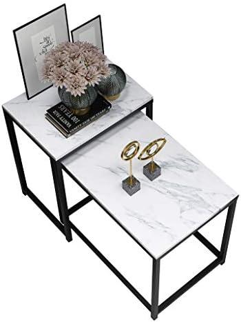 Unisex LAMXF bijzettafels voor de woonkamer vierkante bijzettafels van marmer & metalen frame, ruimtebesparende en compacte bijzettafels of salontafels in moderne stijl, set van 2  HaB7t0b