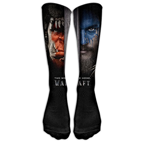 Unisex Warcraft Movie Poster Two Worlds One Home Tube Socks Knee High Sports