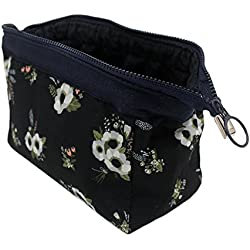 Makeup Bag/Travel Cosmetic Bags/Brush Pouch Toiletry Kit Fashion Women Jewelry Organizer with YKK Zipper Electronics Accessories Hard Drive Carry Case Portable Cube Flower Floral Purse (Navy Blue)