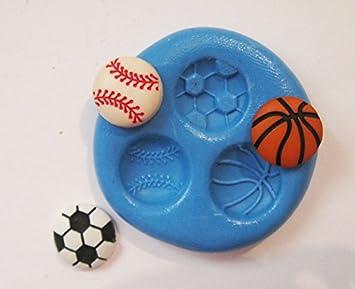 Béisbol, fútbol, baloncesto con molde de silicona flexible de calidad alimentaria para arcilla polimérica, resina, cera, comida en miniatura, dulces, yeso: ...