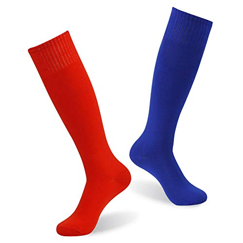 Women's Team Socks, diwollsam Unisex Bright Crazy Funky Cheering Squad Casual Uniform Softball Rugby Baseball Soccer Socks 2 Pairs(Blue/Red)