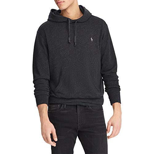 Polo Ralph Lauren Mens Pullover Hoodie Sweatshirt (XL, Black Heather)