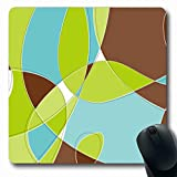 Ahawoso Mousepads for Computers Modern Green Lime Retro Swirl Loopy Aqua Clip Pattern Brown Cool Design Oblong Shape 7.9 x 9.5 Inches Non-Slip Oblong Gaming Mouse Pad