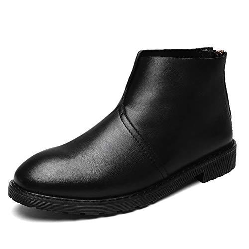 Black Redonda Suela De Altas Botas Para Cuero Usar Cómodos Wdyy Zapatos Cabeza Hombre Goma Hombres 81qZ06w1Rx