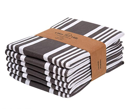 Kitchen Towels,Trendy Stripes, 100% Cotton Dish Towels, Mitered Corners, (Size: 20X30 Inch), Dove Grey/White Highly Absorbent Bar Towels & Tea Towels - (Set of 6)
