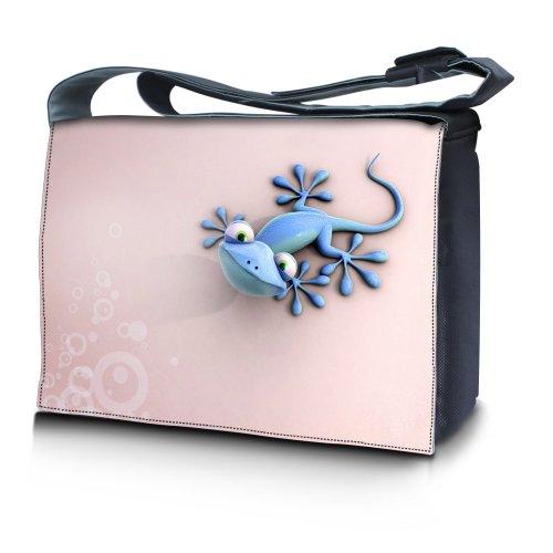 Luxburg® Design bolso bandolera de mensajero, de escuela bolso para portátil ordenadores Laptop Notebook 17,3 pulgadas, motivo: Erizo multicolor Salamandra