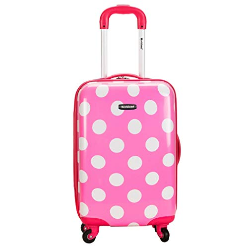 (Girls Pink Polka Dots Hardtop Luggage, Carry On Polkadot, White Dot Pattern)