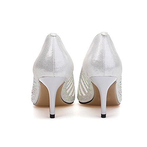 mode creuse Blanc de la Shoes Single bien shoes en maille 38 long240mm femmes des Blanc de taille chaussures talons Couleur avec sexy hauts female des Tw8Hqw