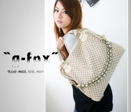 New Summer Fashion Women PU Leather Hobo Chain Weaving Woven bag Handbag Double Use Shoudler Bag(White), Bags Central
