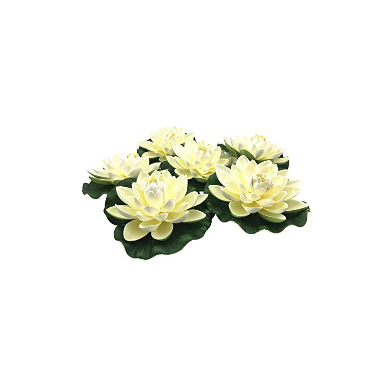 silk flower arrangements navadeal 6pcs artificial floating foam lotus flowers, with water lily pad ornaments, ivory white, perfect for patio koi pond pool aquarium home garden wedding party holiday special event decorations