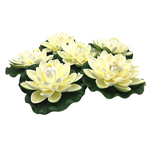 (NAVAdeal 6PCS Artificial Floating Foam Lotus Flowers, with Water Lily Pad Ornaments, Ivory White, Perfect for Patio Koi Pond Pool Aquarium Home Garden Wedding Party Special Event Decoration)
