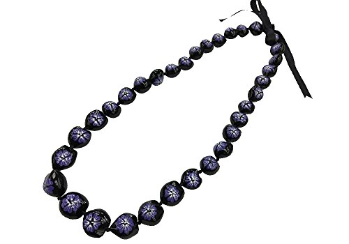 (DK Hawaiian Collections Style Kukui Nut Lei Hibiscus Flower Hand Painted 33 Nuts Necklace (Purple))