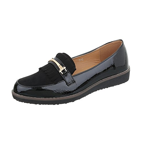 Ital-Design Women's Loafer Flats Flat Slippers Black W-6-1 AITNP3Wc