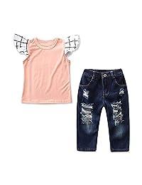 2pcs Kids Girls Ruffled Top Shirt + Hole Pants Trousers Fashion Clothing Set