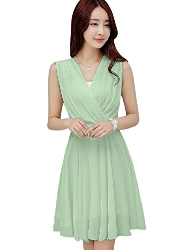 Tanming Women's Sleeveless V-Neck Knee Length Tank Chiffon Dress with Belt (Small, Light Green)