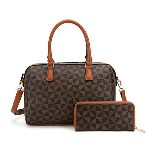Satchel Purses and Handbags for Women Shoulder Tote Bags Wallets Top Handle Messenger Hobo 2pcs Set (Brown 2827w)