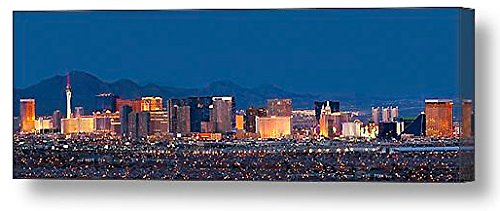 (CANVAS Las Vegas Skyline at Dusk Color 20 inches x 60 inches City Downtown Photographic Panorama Poster Print Photo Picture)
