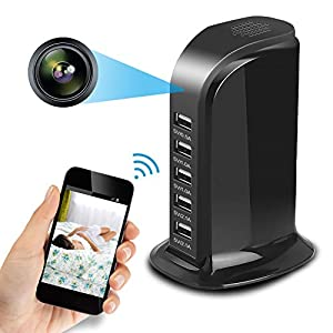 Spy Camera Wireless Hidden Camera 1080P HD WiFi USB Charger Camera 5 Port Plug Desktop Charging Station Portable Security Camera Lens Support Live Remote View Recorder, Loop Record, Phone Charging