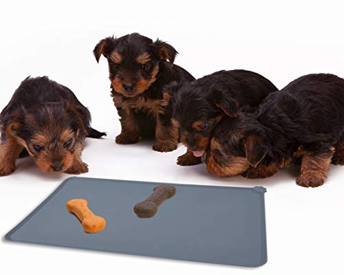 Juvale Pet Food Tray - 2-Pack Silicone Pet Food Mat, Waterproof Pet Feeding Tray with Non-Slip Bottom and Raised Edges, Grey by Juvale (Image #1)