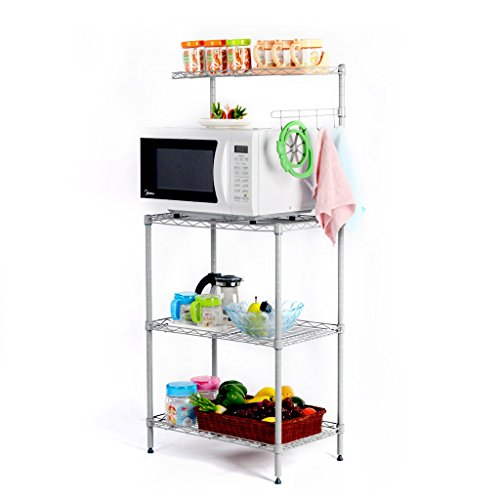 LANGRIA 3 Tier Kitchen Wire Microwave Oven Baker's Rack/ Stand Shelving Unit with Spice Rack Organizer Storage Rack,Silver Grey