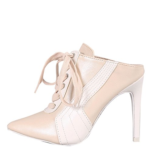 CAPE ROBBIN Womens Pointy Toe Lace Up Stiletto High Heel Sneaker Mules Ankle Booties Boot Nude h6bkoicRO