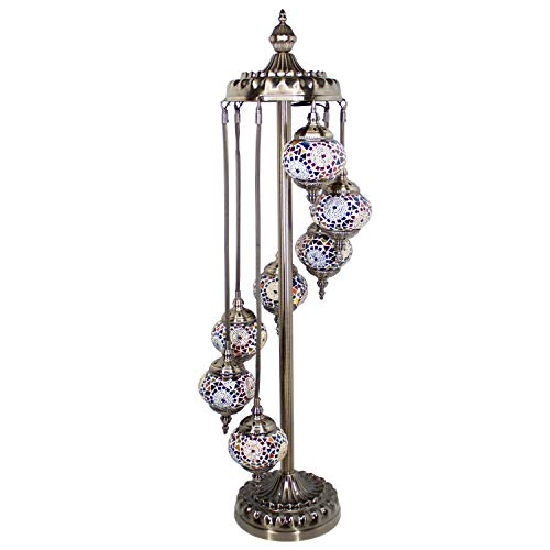 (Kindgoo Turkish Mosaic Floor Lamp Handcrafted Multicolored Glass Standing Lamp 7 Lights Led Bulbs Included)
